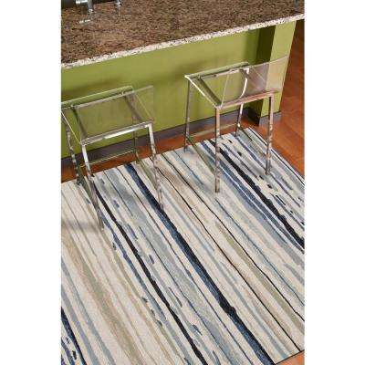 Sketchy Lines Silver Green 2 ft. x 3 ft. Abstract Area Rug