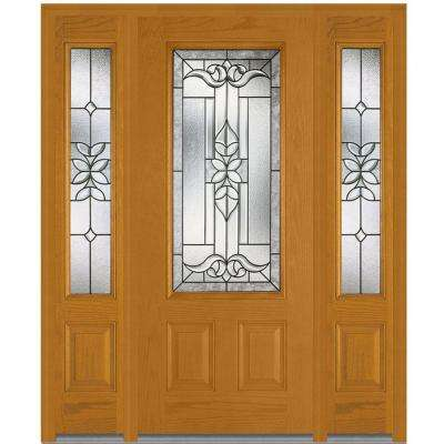 68.5 in. x 81.75 in. Cadence Decorative Glass 3/4 Lite Finished Fiberglass Oak Exterior Door with Sidelites