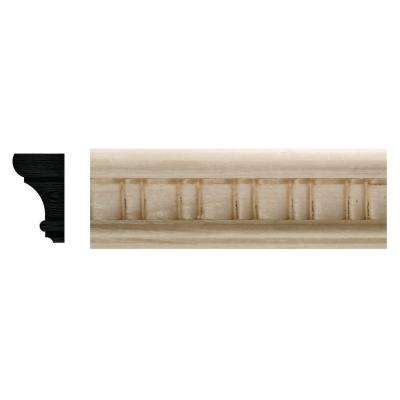 7/8 in. x 1-1/2 in. x 96 in. White Hardwood Embossed Scallop Moulding