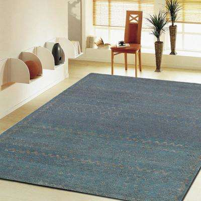 Oushak Coastal Distress Blue 8 ft. x 10 ft. Indoor Area Rug