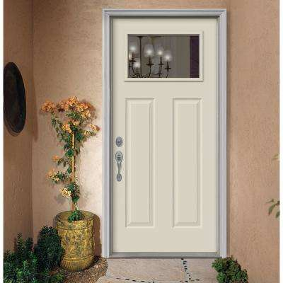 36 in. x 80 in. 1-Lite Craftsman Vanilla Painted Steel Prehung Right-Hand Inswing Front Door w/Brickmould
