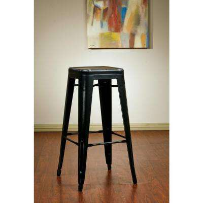 Bristow 26 in. Metal Barstool in Antique Black (Set of 2)