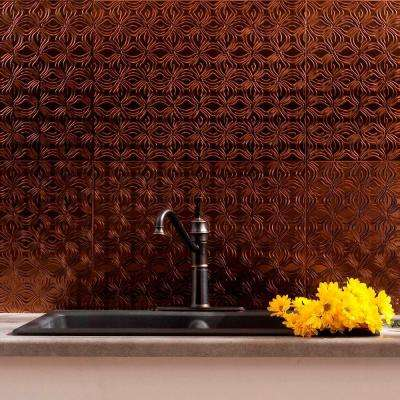 24 in. x 18 in. Lotus PVC Decorative Tile Backsplash in Oil Rubbed Bronze