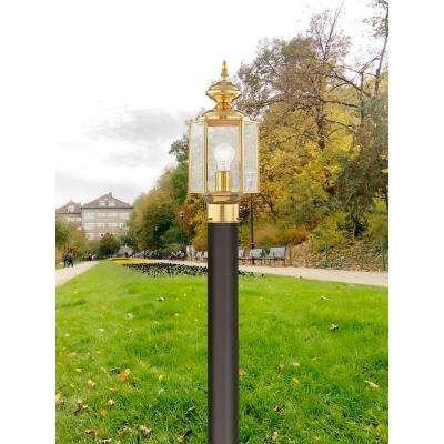 Providence 1-Light Outdoor Polished Brass Incandescent Post Lantern