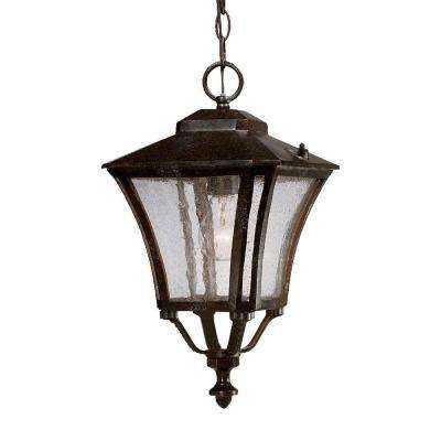 Tuscan Collection Hanging 1-Light Outdoor Marbleized Mahogany Lantern