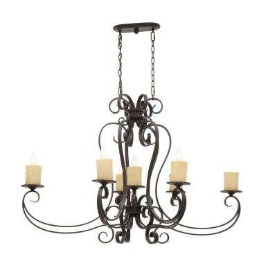 Stafford Spring Collection 7-Light Antique Bronze Hanging Pendant