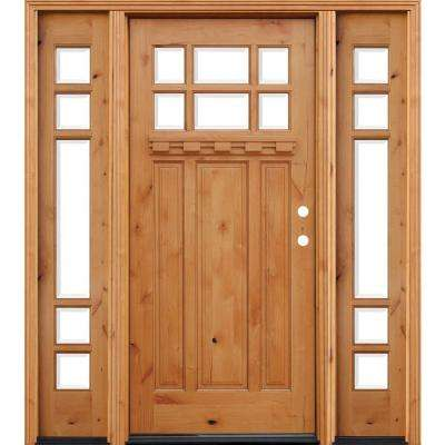 Craftsman Rustic 6 Lite Stained Knotty Alder Wood Prehung Front Door w/ 12 in. Sidelites & Dentil Shelf