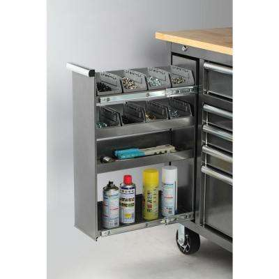 61 in. W x 24 in. D 10-Drawer Tool Chest Mobile Workbench with Sliding Vertical Bin Storage Drawer in Silver