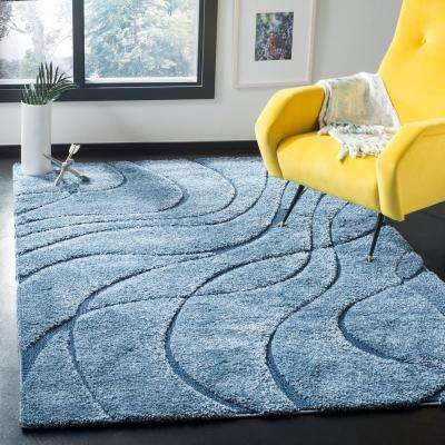 Florida Shag Light Blue/Blue 8 ft. 6 in. x 12 ft. Area Rug