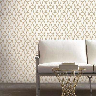 28.18 sq. ft. Gold Trellis Peel & Stick Wallpaper