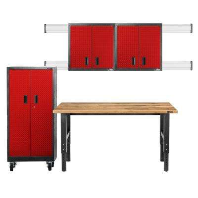 Premier Series Pre-Assembled 66 in. H x 102 in. W x 25 in. D Steel Garage Cabinet Set in Racing Red Tread (4-Pieces)