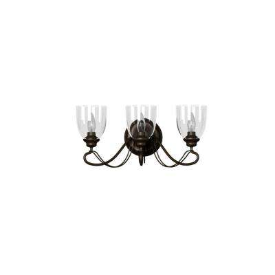 3-Light Bronze Bath Light with Clear Glass Shades