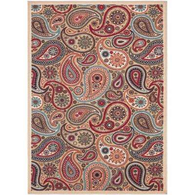 Contemporary Paisley Design Beige 8 ft. 2 in. x 9 ft. 10 in. Non-Skid Area Rug