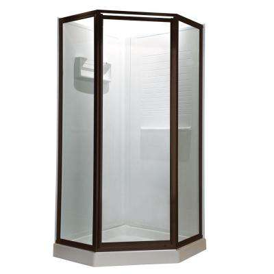 Prestige 24.2 in. x 68.5 in. Neo-Angle Shower Door in Oil-Rubbed Bronze with Clear Glass