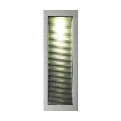 Scoop Rectangular 3.5 in. Corrugated Reflector and Grey Trim Recessed LED Step Light for New Construction