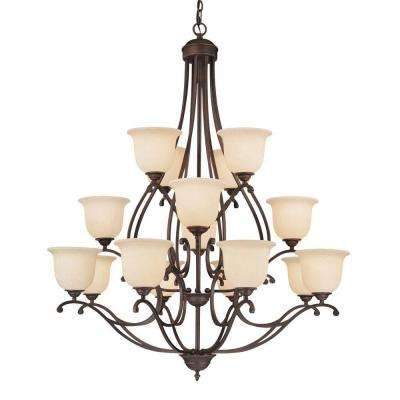 16-Light Rubbed Bronze Chandelier with Turinian Scavo Glass