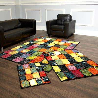 Splash Multi 5 ft. x 7 ft. Indoor 3-Piece Rug Set