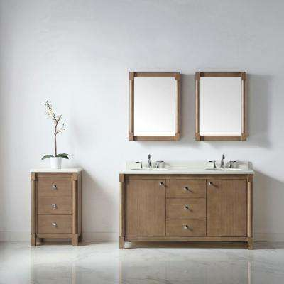 Breton 60 in. W x 22 in. D Vanity in Almond Toffee with Marble Vanity Top in White with White Basin