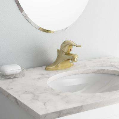 Chateau 4 in. Centerset Single-Handle Low-Arc Bathroom Faucet with Metal Drain Assembly in Polished Brass