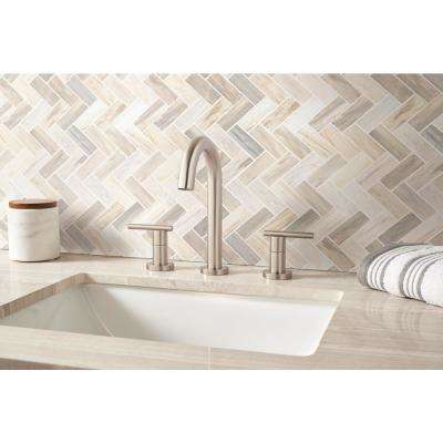 Angora Herringbone 12 in. x 12 in. x 10mm Polished Marble Mesh-Mounted Mosaic Tile