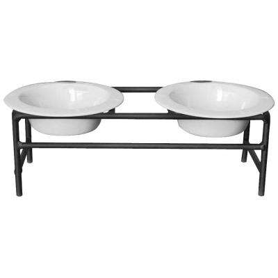 1 Cup Wrought Iron Modern Diner Cat Stand with Extra Wide Rimmed Bowls in White