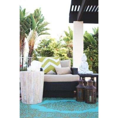 Istanbul Indoor/Outdoor Fair Aqua and Bronze 5 ft. x 8 ft. Area Rug