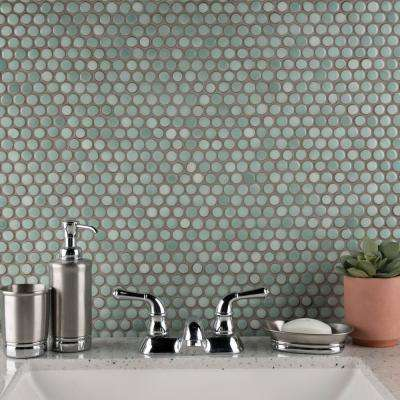 Hudson Penny Round Mint Green 12 in. x 12-5/8 in. x 5 mm Porcelain Mosaic Tile