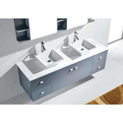 Clarissa 72 in. W Bath Vanity in Gray with Stone Vanity Top in White with Square Basin and Mirror and Faucet
