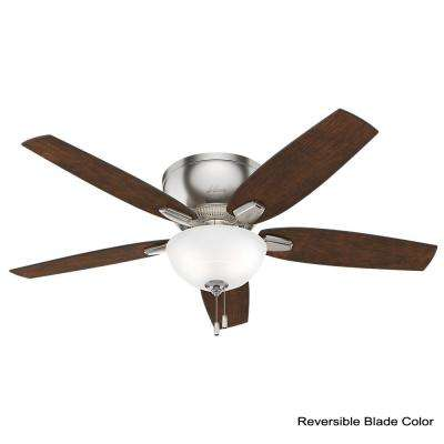 Oberlin 52 in. LED Indoor Brushed Nickel Ceiling Fan bundled with Hunter Handheld Remote Control