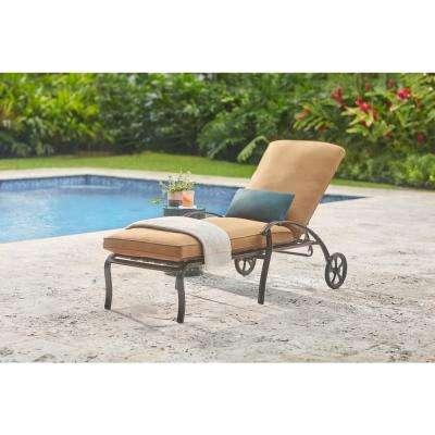 Ridge Falls Dark Brown Aluminum Outdoor Patio Chaise Lounge with Sunbrella Canvas Cork Tan Cushions
