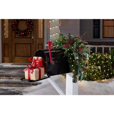 32 in. Woodmoore Battery Operated Pre-Lit LED Artificial Christmas Mailbox Swag