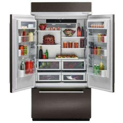 24.2 cu. ft. Built-In French Door Refrigerator in Black Stainless, Platinum Interior