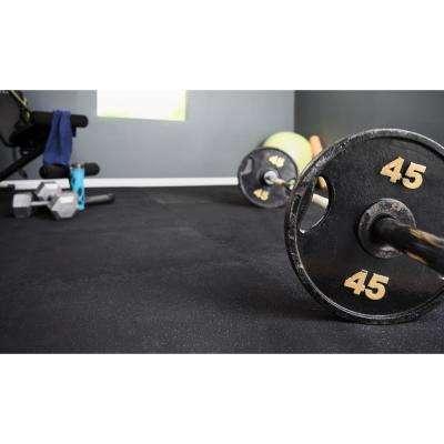 Black 25.4 in. x 25.4 in. x 0.68 in. Shock Absorbing Gym Floor (4-Pack)