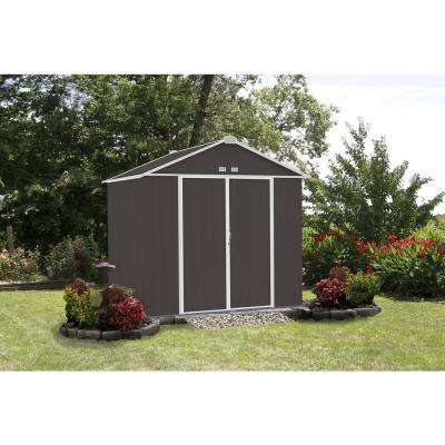 8 ft. W x 7 ft. H x 7 ft. D EZEE Galvanized Steel High Gable Shed in Charcoal/Cream Trim with Snap-IT Quick Assembly