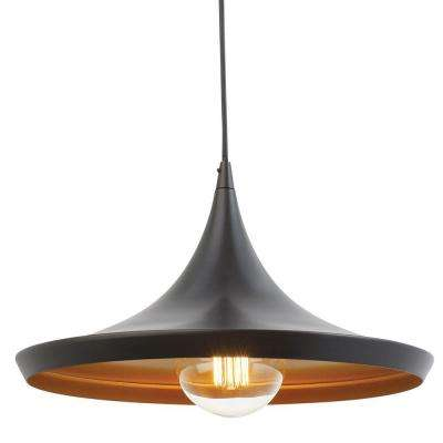 1-Light Flat Modern Industrial Oil Rubbed Bronze and Gold Pendant