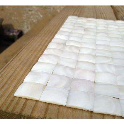 Mother of Pearl Nacre White 12 in. x 12 in. x 2 mm 3D Pearl Shell Glass Wall Mosaic Tile
