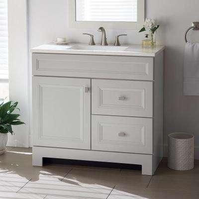 Sedgewood 36-1/2 in. W Bath Vanity in Dove Gray with Solid Surface Technology Vanity Top in Arctic with White Sink