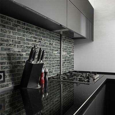 Black Magic 12 in. x 12 in. Interlocking Glossy Glass Brick Mosaic Tile