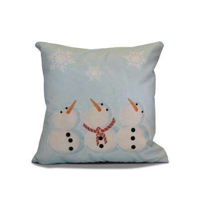 16 in. x 16 in. 3 Wise Snowmen Holiday Pillow in Light Blue