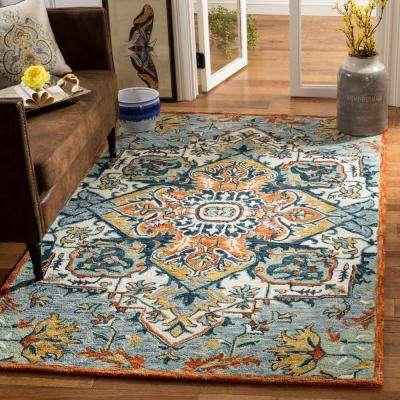 Aspen Blue/Rust 8 ft. x 10 ft. Area Rug