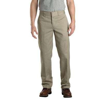 Men's Khaki Slim Fit Straight Leg Work Pant