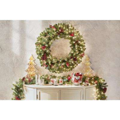 60 in. Battery-Operated Pre-Lit LED Artificial Winslow Fir Christmas Wreath with 560 Tips and 240 Warm White Lights