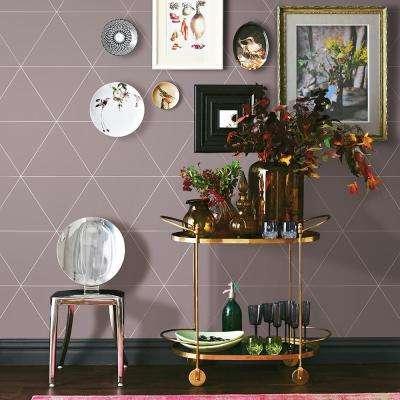 56.4 sq. ft. Twilight Purple Geometric Wallpaper