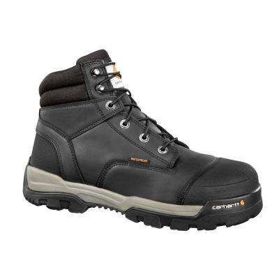 Ground Force Men's Black Leather Waterproof Composite Safety Toe Lace-up Work Boot