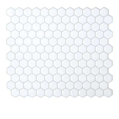 11.27 in. x 9.64 in. Adhesive Decorative Wall Tile Backsplash Hexagon in White