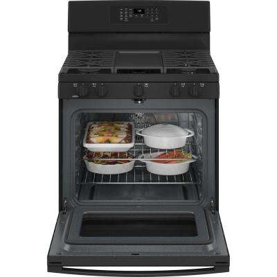 30 in. 5.0 cu. ft. Gas Range with Self-Cleaning Convection Oven and Air Fry in Black