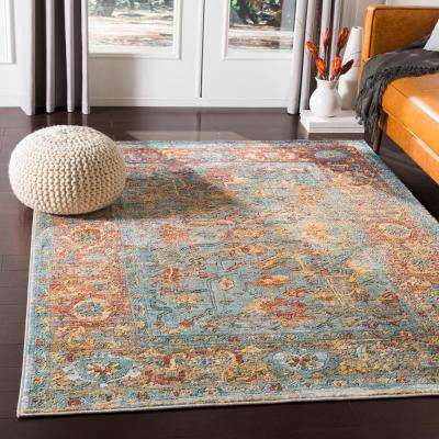 Caius Aqua/Orange 2 ft. x 3 ft. Oriental Area Rug
