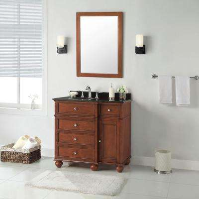 Hampton Harbor 36 in. W x 22 in. D in Sequoia Bath Vanity with Granite Vanity Top in Black with White Sink