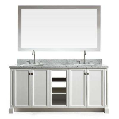 Westwood 73 in. Vanity in White with Marble Vanity Top in Carrara White with White Basins and Mirror
