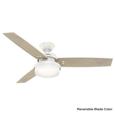 Sentinel 52 in. LED Indoor Fresh White Ceiling Fan with Light Kit and Universal Remote